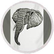 Elephant Head Round Beach Towel