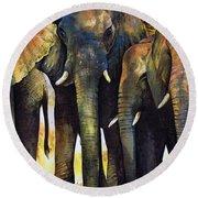 Elephant Herd Round Beach Towel
