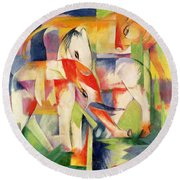 Elephant Horse And Cow Round Beach Towel