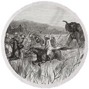 Elephant Hunters In The 19th Century Round Beach Towel