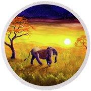 Elephant In Purple Twilight Round Beach Towel