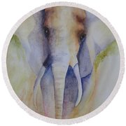 Elephant In The Grass Round Beach Towel
