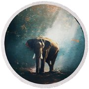 Elephant In The Mist - Painting Round Beach Towel