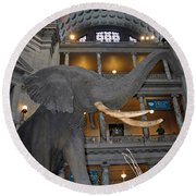 Elephant In The Room Round Beach Towel