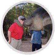 Elephant Kissing Man Holding Bananas Round Beach Towel