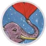 Elephant Love Round Beach Towel