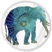 Elephant Maps Round Beach Towel