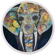 Elephant Mixed Media 2 Round Beach Towel