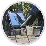 Elephant Painting Round Beach Towel