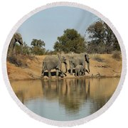 Elephant Refelction Round Beach Towel