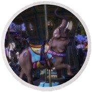 Elephant Ride At The Fair Round Beach Towel