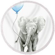 Elephant Watercolor Blue Nursery Art Round Beach Towel