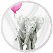 Baby Elephant Watercolor  Round Beach Towel