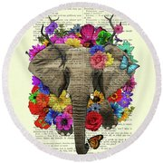 Elephant With Colorful Flowers Illustration Round Beach Towel