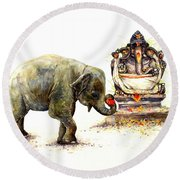Elephant With Ganesha Round Beach Towel