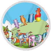 Elephants And Urns On A Hill Round Beach Towel