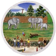 Elephants At The Zoo Round Beach Towel