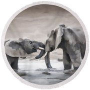Elephants From Africa Round Beach Towel