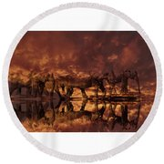 Elephants In The Clouds Round Beach Towel