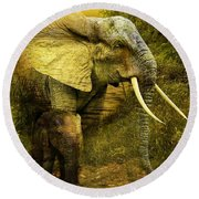 Elephants In The Golden Light Round Beach Towel