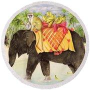 Elephants With Bananas Round Beach Towel