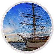 Elissa Sailing Ship Round Beach Towel