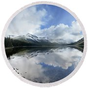 Elizabeth Lake Detail 2 - Glacier National Park Round Beach Towel