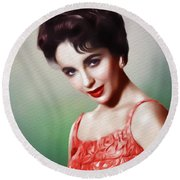 Elizabeth Taylor, Vintage Movie Star Round Beach Towel