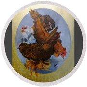 Elizabeth's Chickens Round Beach Towel