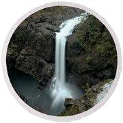Elk Falls Provincial Park Waterfall Round Beach Towel