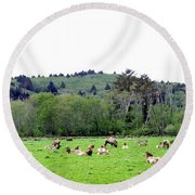 Elk Herd Round Beach Towel
