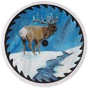 Elk In Snow Round Beach Towel