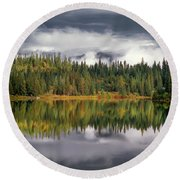 Elk Lake Round Beach Towel