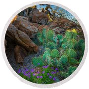 Elk Mountain Flowers Round Beach Towel by Inge Johnsson
