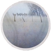 Elk On The Hill Round Beach Towel