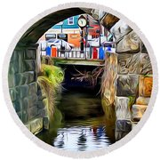 Ellicott City Bridge Arch Round Beach Towel