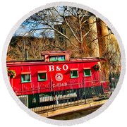 Ellicott City Train And Factory Round Beach Towel