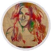 Ellie Goulding Watercolor Portrait Round Beach Towel