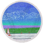 Elliott Bay Sail Round Beach Towel