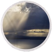 Elliott Bay Storm Clouds Ferry Round Beach Towel