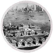 Ellis Island, 1933 Round Beach Towel