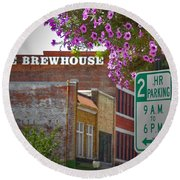 Elm Street Downtown Greensboro Round Beach Towel