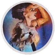 Elsa Lanchester, Bride Of Frankenstein Round Beach Towel