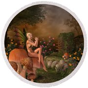 Elven Beautiful Woman With Flute Round Beach Towel