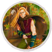Elven Hunter Round Beach Towel