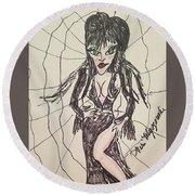 Elvira Mistress Of The Dark Round Beach Towel