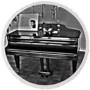 Elvis And The Black Piano ... Round Beach Towel