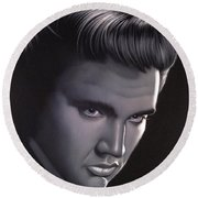 Elvis Presley Portrait Round Beach Towel