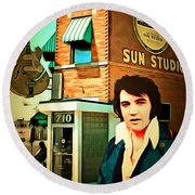 Elvis Presley The King At Sun Studio Memphis Tennessee 20160216 Square Round Beach Towel