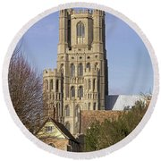 Ely Cathedral West Tower Round Beach Towel